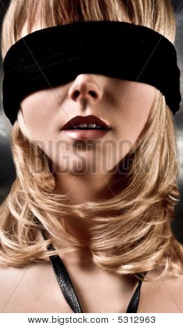 Blindfolded Blond Woman Closeup