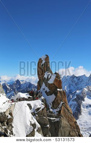 Peak and observation point Rebuffat at the mountain top station of the Aiguille du Midi , France