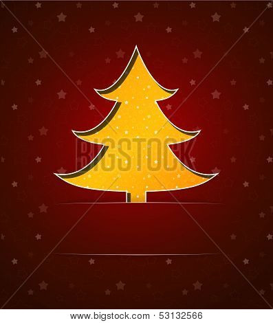 Christmas card with yellow tree