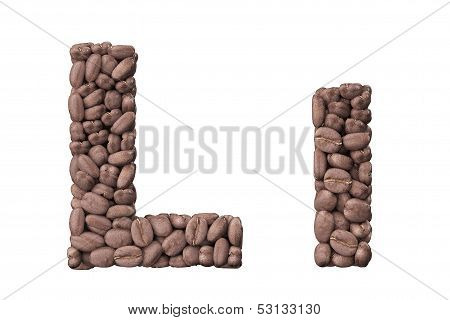 Alphabet From Coffee Beans. Letter L Coffee Design