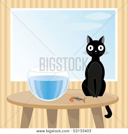 Naughty cat ate fish