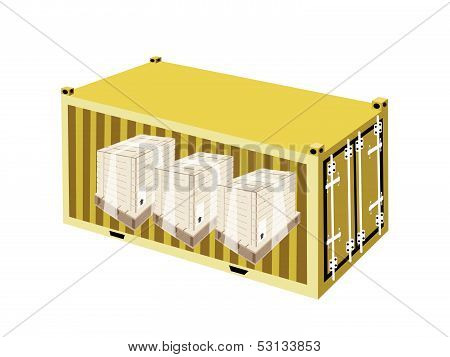 Shipping Boxes With Plastic Wrap In Cargo Container