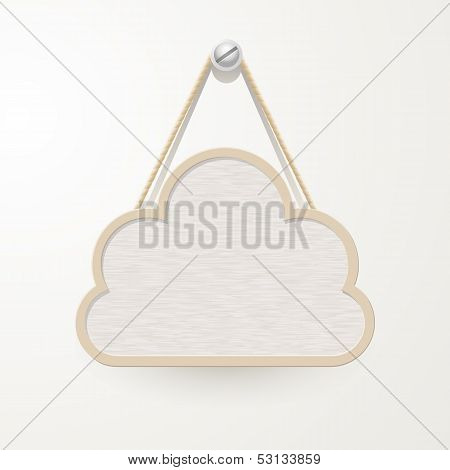 Wooden Sign With Rope Hanging On A Nail