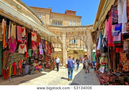 JERUSALEM - AUGUST 21: Bazaar in Old City offers middle east traditional products and souvenirs. It is very popular site with tourists and pilgrims visiting Jerusalem, Israel on August 21, 2013.