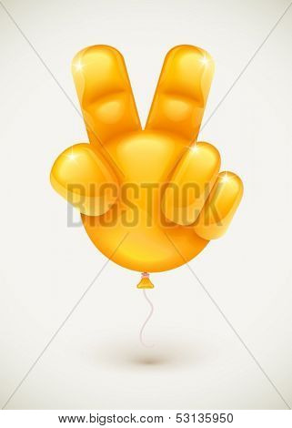 Orange balloon as human hand showing victory symbol made of fingers - eps10 vector illustration.