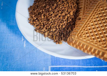Instant Coffee On A Saucer And Cookies