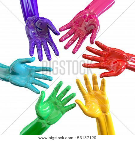 Hands Colorful Circle Reaching Inwards
