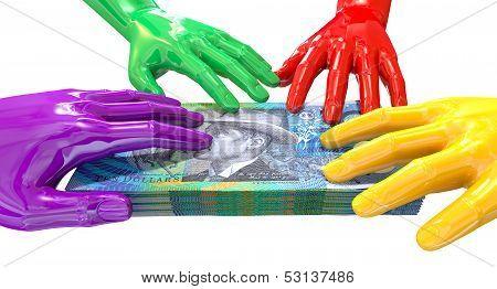 Hands Colorful Grabbing At Australian Dollars