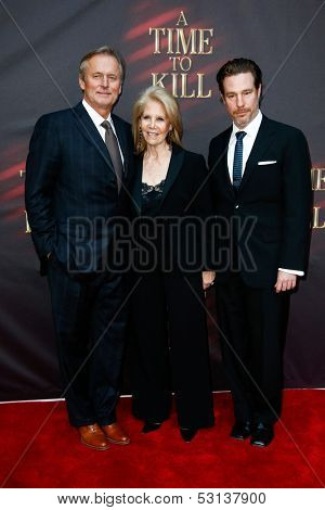 NEW YORK- OCT 20: Author John Grisham (L), producer Daryll Roth and director Ethan McSweeny (R) attend the opening of 'A Time To Kill' at The Golden Theatre on October 20, 2013 in New York City.