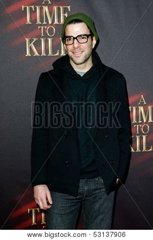 NEW YORK- OCT 20: Actor Zachary Quinto attends the Broadway opening night of 'A Time To Kill' at The Golden Theatre on October 20, 2013 in New York City.