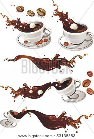 Realistic Vector illustration of coffee splashing out of a mug