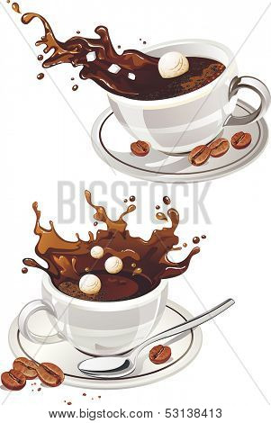 Cup of Espresso Coffee with splash on a white background. Vector illustration