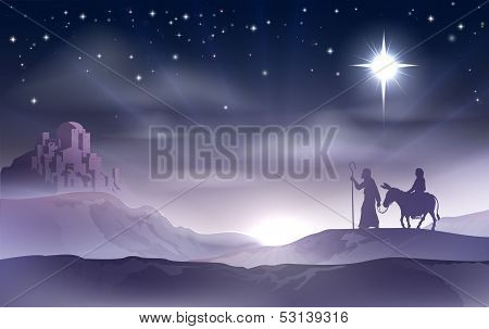 Mary en Joseph Nativity Kerstmis illustratie