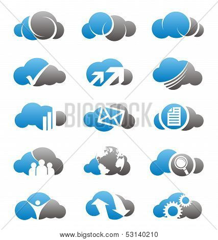 Cloud icons set