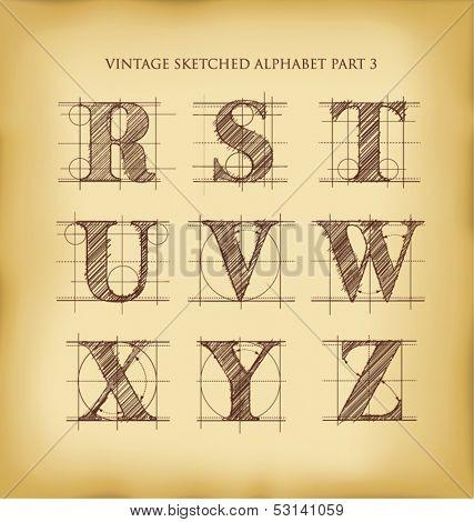vintage drafted sketched letters set 3