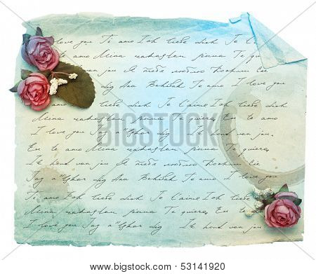Vintage background with old paper and flowers with I love you inscription in different languages.