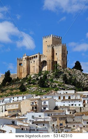 White town and castle, Velez Blanco, Spain.