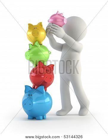 3D Small People - Balance Piggy