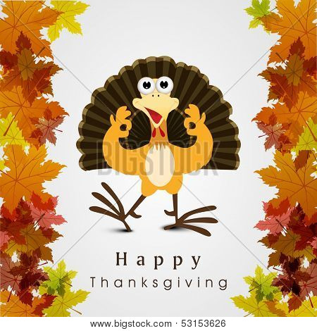 Beautiful, colorful cartoon of turkey bird for Happy Thanksgiving celebration on maple leaves background, can be use as flyer, poster or banner.