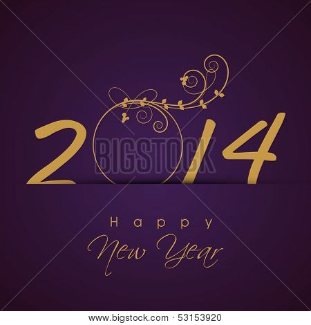 Happy New Year 2014 celebration background with golden text on purple background, can be use as flyer, banner or poster.