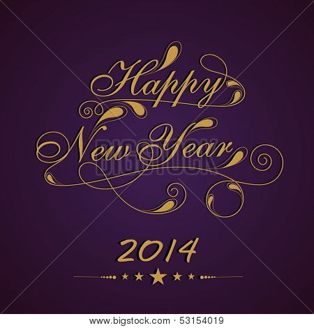 Stylize golden text Happy New Year on purple background, can be use as flyer, banner or poster for parties celebration.