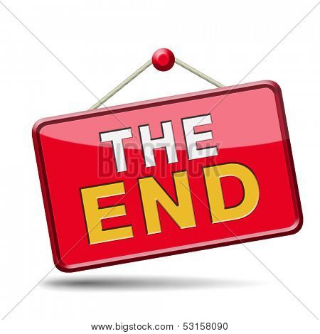 the end icon or sign to finish point way out