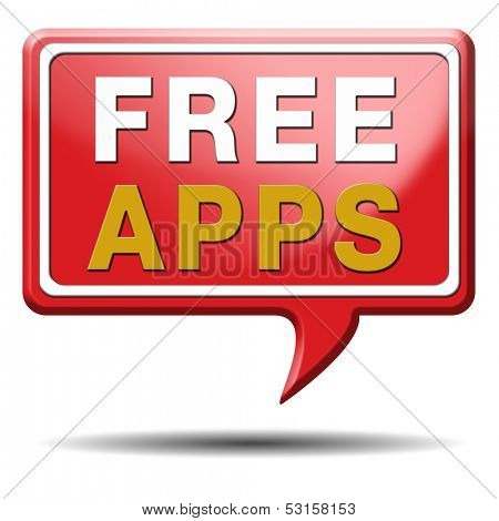 Free app or gratis apps download sign label icon or button.