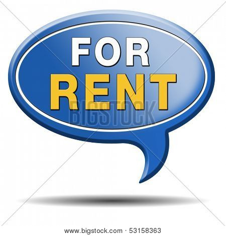 For rent banner, renting a house apartment or other real estate sign. Home to let icon.