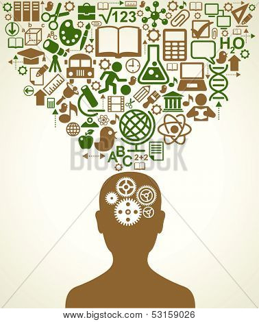 Silhouette of a human head with gears in place of the brain. Above his head is a lot of icons. The concept of  education