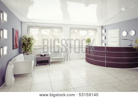 A reception area -modern interior