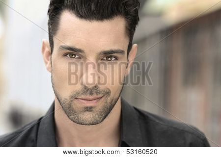 Close up portrait of a handsome young man