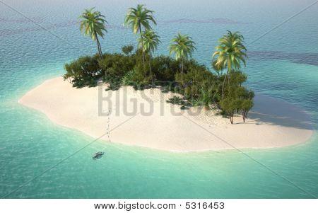 Vista aérea da ilha de deserto do Caribe