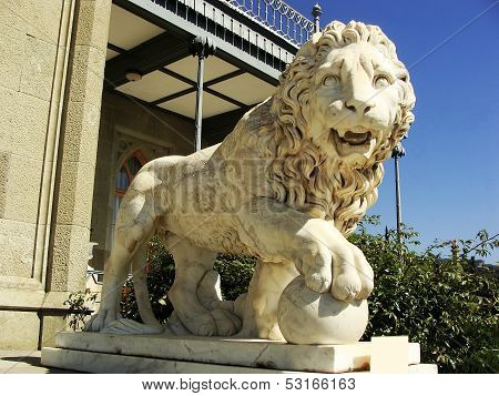 Sculptire Of Medici Lion, Southern Facade Of Vorontsov Palace, Alupka, Crimea