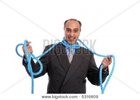 Businessman Tied Up By Rope