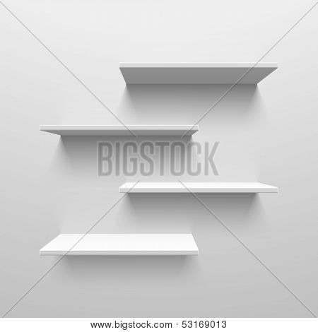 White shelves. Vector.