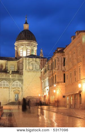 The Square Of Dubrovnik At Night