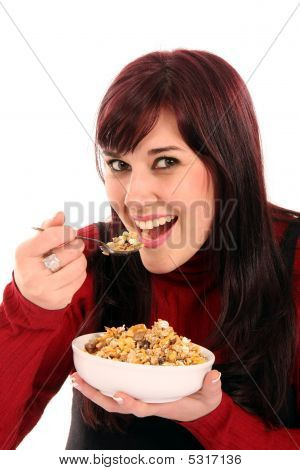 Beautiful Woman Eating Breakfast