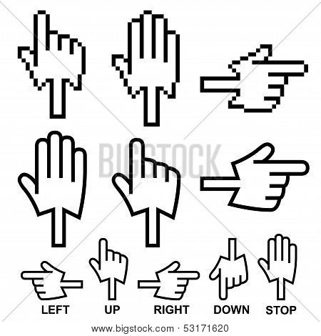 Direction hand cursor icons