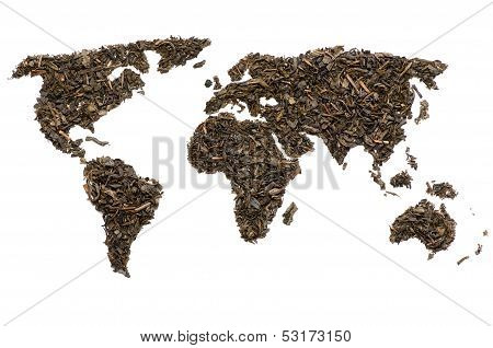 World map made of tea