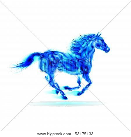 Running blue fire horse.