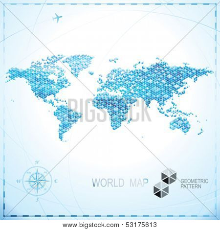 Geometric pixel shape World map background.