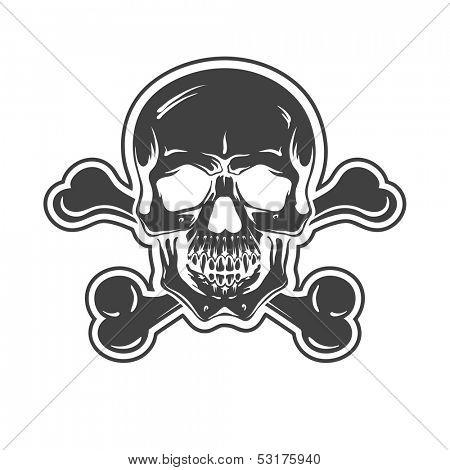 Cartoon Vector Skull . hand drawn. Vector eps8