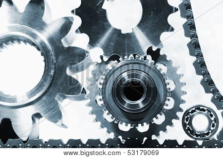gears and cogs, titanium and steel engineering, powered by timing-chain