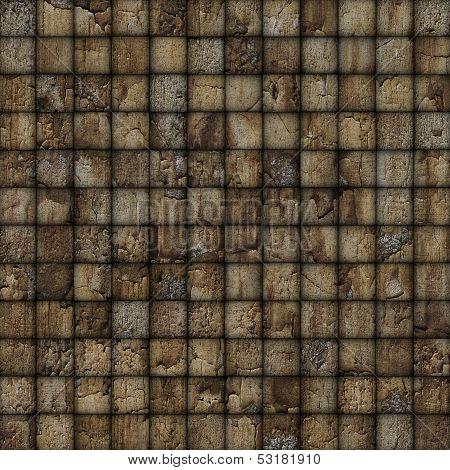 Cracked Mosaic Tile Worn Old Wall Floor Brown
