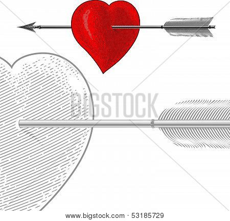 Heart with arrow in engraving style
