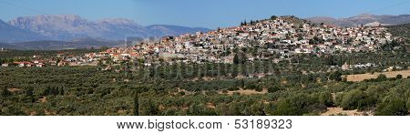 Panoramic Of Village In Lakonia, Greece