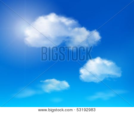 Clouds on blue sky. Vector illustration.