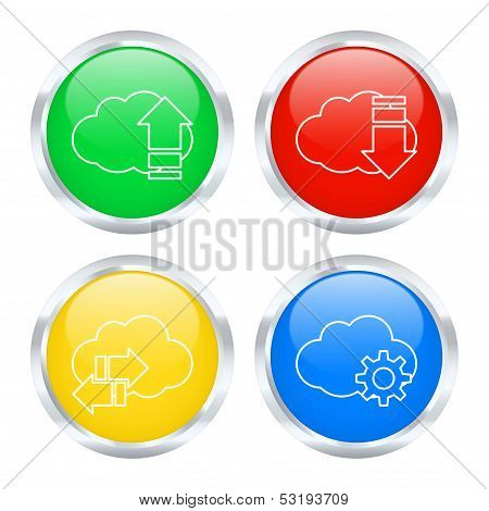 Set Of Cloud Buttons. Vector Illustration