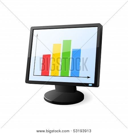 Desktop Computer With Diagram On Screen. Vector Illustration