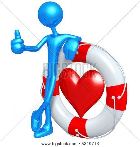 3D Character With Heart In Lifebuoy